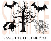 Halloween Witch, Bat, Tree, spiderweb SVG ,DFX, eps, png monogram clip-art pack vector files.