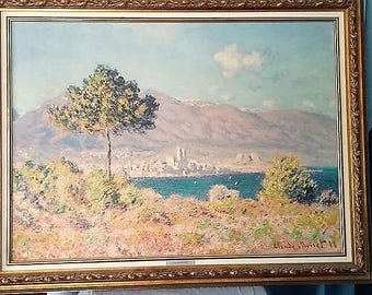 Framed Monet Antibes Reproduction Painting by Artegraph