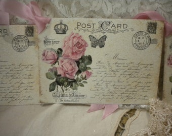 Shabby Chic Vintage Paris Post card / Roses Tags (4)