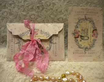 Shabby Vintage Paris 6 Envelopes With 6 Note Cards