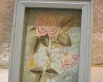 Shabby Chic Wood Shadow Box Vintage Paris / Flowers