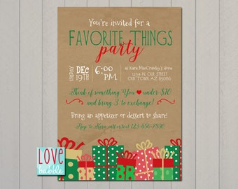 Favorite Things, Shopping Boutique, White Elephant, Christmas Party invitation PRINTABLE DIGITAL FILE - 5x7