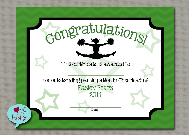 Cheerleading Cheer Award Certificate Dance Gymnastics Award Etsy