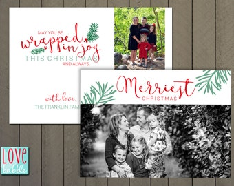 Christmas Holiday Photo Card, Red Green Modern, Joy - PRINTABLE DIGITAL FILE - 5x7 Includes red backside.