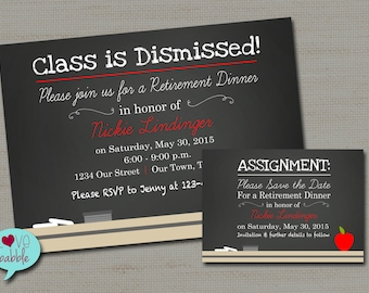 Chalkboard Teacher School Retirement Party Invitation, Save the Date - PRINTABLE DIGITAL FILE - 5x7, 3.5x5 Set of 2 files