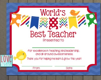 Teacher Appreciation Certificate, End of the Year, Class, Classroom, School Gift - PRINTABLE DIGITAL FILE - 8.5x11