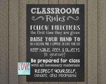 Classroom Class Rules Chalkboard - PRINTABLE DIGITAL FILE - 18x24