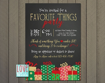 Favorite Things, Shopping Boutique, White Elephant, Christmas Party Chalkboard invitation PRINTABLE DIGITAL FILE - 5x7