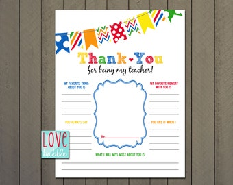 Teacher Appreciation, End of the Year, Class, Classroom, School Gift - PRINTABLE DIGITAL FILE - 8.5x11