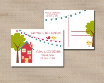 Moving Announcement, New Address Post cards, Change of address Cards, PRINTABLE DIGITAL FILE 4 x 5.5