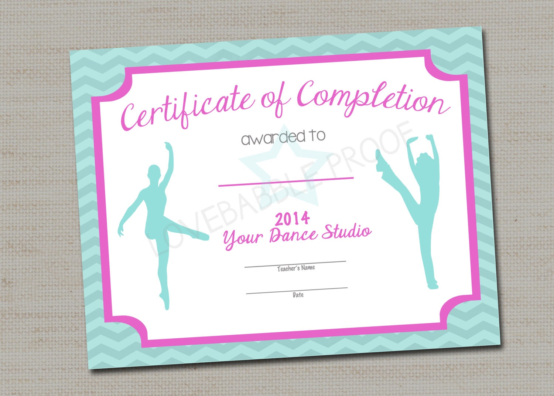 Dance Certificate Gymnastics Certificate Printable Digital Etsy