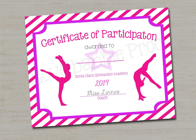 Gymnastics Award Certificate Dance Award Printable Digital Etsy