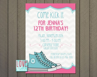 Birthday Party Invitation, Tween, Girl, Shoe Party, high-top - PRINTABLE DIGITAL FILE 5x7