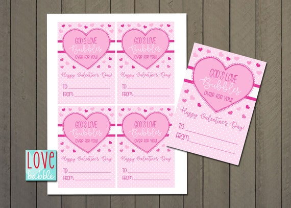 Bubbles Pink Hearts Preschool Kindergarten Valentine Exchange Cards Favor Tag Printable Digital File 8 5x11 Page Of 4