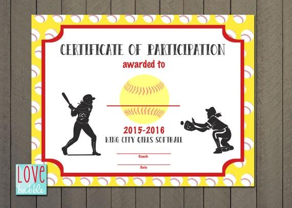 Wonderful Girls Softball Baseball T Ball Award Certificate PRINTABLE
