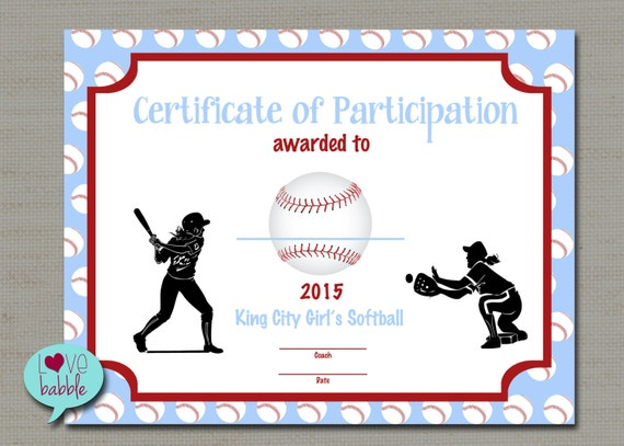 Lovely Girls Softball Baseball T Ball Award Certificate PRINTABLE