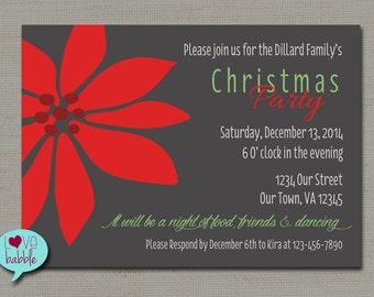 Christmas Winter party Invitation, Ornament Exchange, Pointsetta,   - PRINTABLE DIGITAL FILE - 5x7
