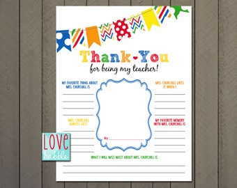 PERSONALIZED Teacher Appreciation, End of the Year, Class, Classroom, School Gift - PRINTABLE digital file - 8.5x11
