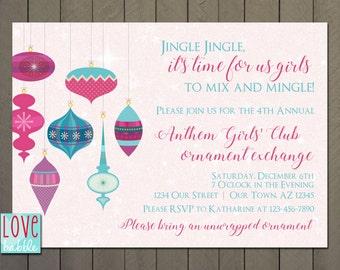 Ornament exchange, Christmas Winter party Invitation  - PRINTABLE DIGITAL FILE - 5x7