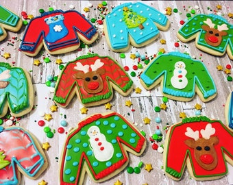 "1 dozen ""ugly"" sweater cookies!"