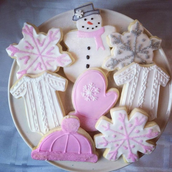1 Dozen Winter Theme Baby Shower Cookies Etsy