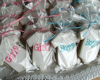 2 dozen Gender Reveal baby onsie cookies! Perfect for favors at your gender reveal party!