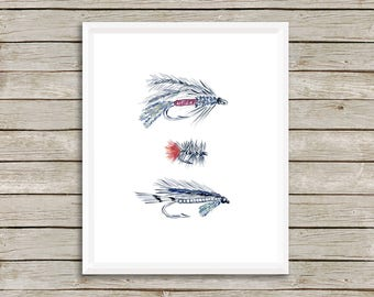 Fly Fishing Print, Hooks, Hunting and Fishing Decor, Fishing Art, Fishing Print, Hunting, Watercolor Art