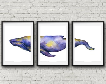 whale print whale watercolor whale watercolor whale painting watercolor print watercolor painting whale art nautical decor nursery decor set