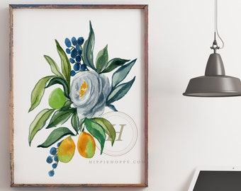 Flower and Fruit Watercolor Print