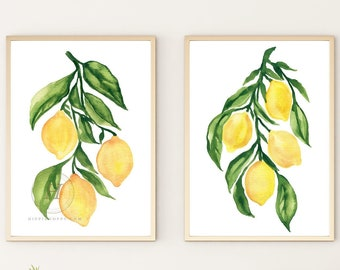 Lemon Art Prints, Set of 2  by HippieHoppy
