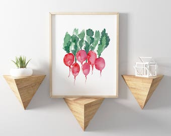 Radish Watercolor Print, Radish Vegetable Art, Radish Food Kitchen Decor, Food Wall Art, Vegetable Decor, Abstract Art Food, Radish Art