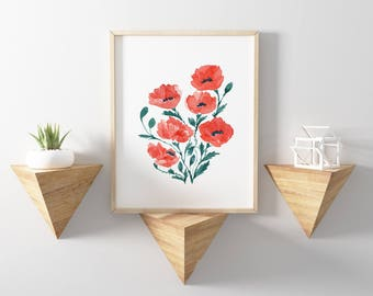 Red Poppies 101 Watercolor Print, Red Poppy, Red Poppies Art, Poppy Wall Decor, Red Poppy, Poppies Watercolor Wall Art, Red Wall Art, Waterc