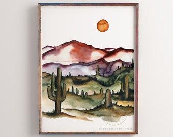 Large Desert Watercolor Print Wall Art