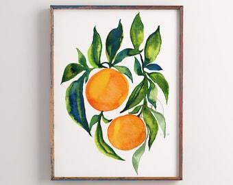 Oranges Citrus Watercolor Print