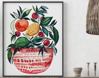 Large Fruit in Bowl Watercolor Print Kitchen Art