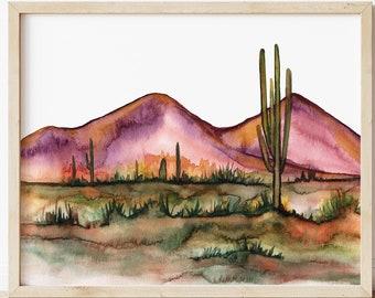 Large Desert Watercolor Print by HippieHoppy