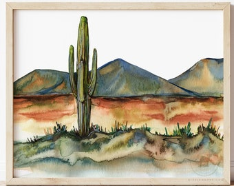 Desert Watercolor Print by HippieHoppy