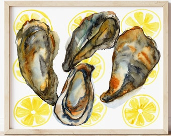Oyster Art Watercolor Print by HippieHoppy