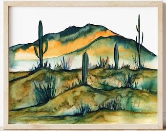 Desert Watercolor Print by HippieHoppy