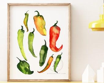 Jalapeno Pepper Watercolor Print