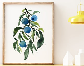 Blueberry Watercolor Print