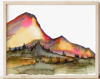 Mountain Landscape Scenery Watercolor Print