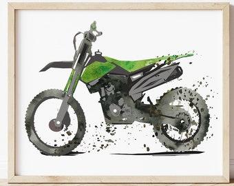 Large Dirt Bike Watercolor Print