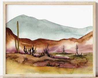 Large Arizona Desert Watercolor Print by HippieHoppy