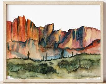 Large Arizona Desert Watercolor Print