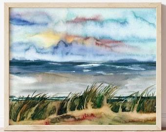 Ocean Watercolor Print