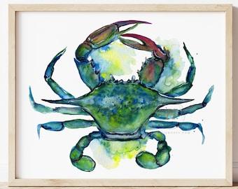 Crab Artwork, original watercolor painting, print