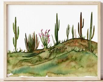 Large Desert Watercolor Print