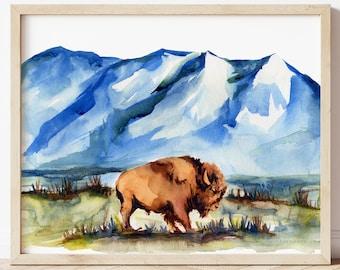 Bison Watercolor Print, Buffalo Art