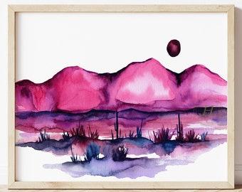 Desert Wall Art Watercolor Print